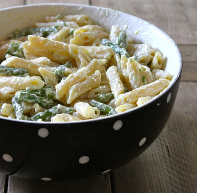 Asparagus, goat cheese, and lemon pasta. I made this tonight and it ...