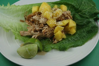 CrockPot Sweet and Sour Chicken with Mango Lettuce Wraps