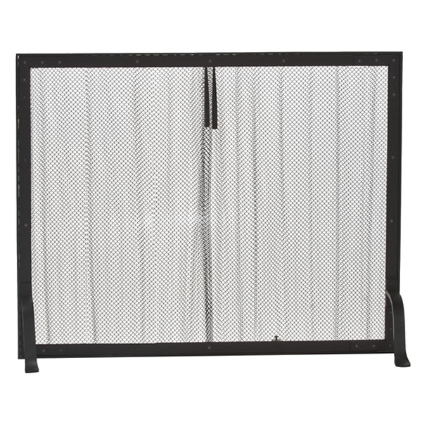Black Wrought Iron Mesh Curtain Fireplace Screen