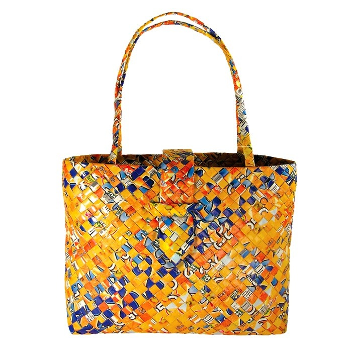 Large Tie Tote - Orange - Handbags