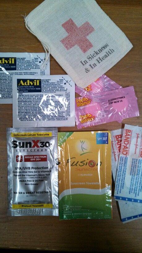 Wedding favors, welcome bags. Single packs of advil, pepto, bandaids
