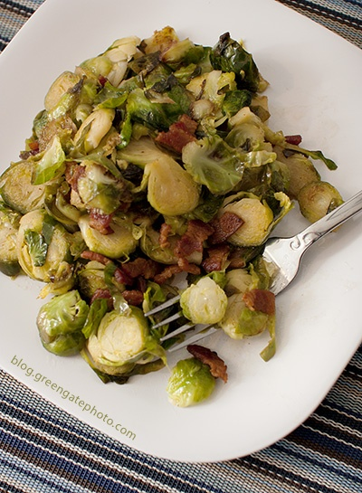 Brussels sprouts with bacon. SO GOOD. Fry up 4 strips of thick bacon ...