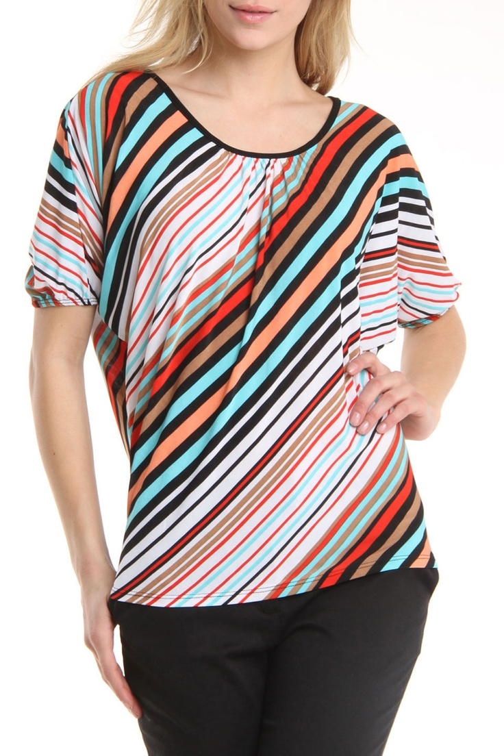 Carol Rose Diagonal Stripe Dolman Sleeve Top    FUN TOP!!