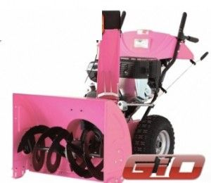 PINK snowblower....I want one for these lovely WI winters~ Snow blowing in style!