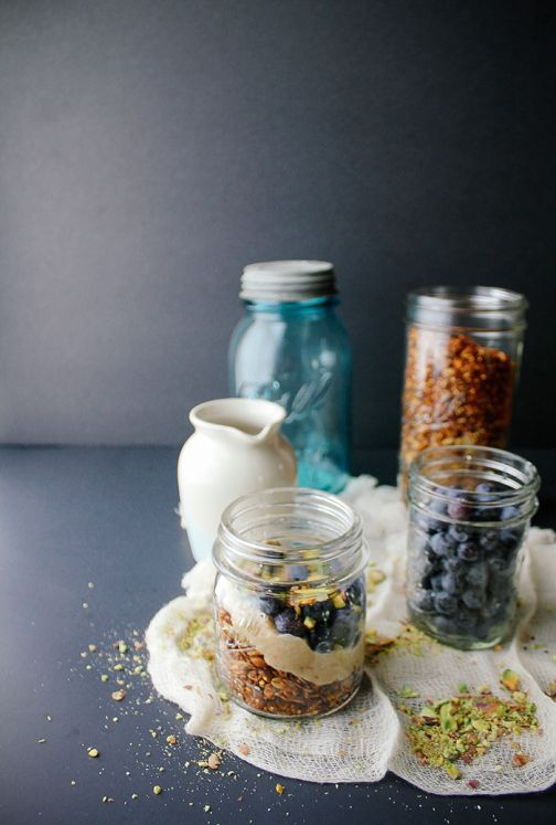 Blueberry Pistachio Parfait with Quinoa Granola & Maple Cashew Cream ...