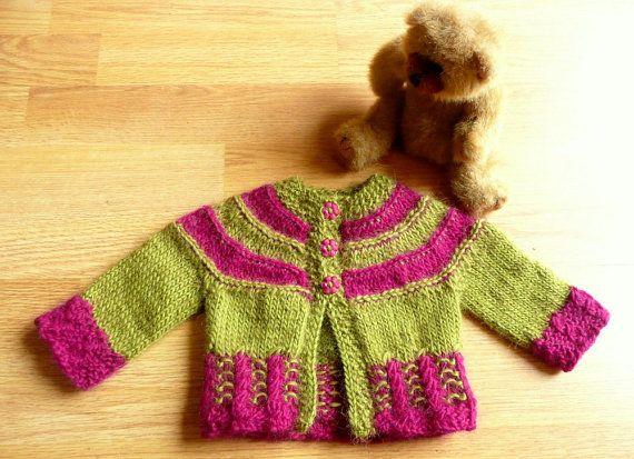 Knitting Pattern For Baby Seamless Yoked Sweater : Knitting PATTERN Seamless Top Down Baby Girl CARDIGAN Jacket Sweater - Tilda ...