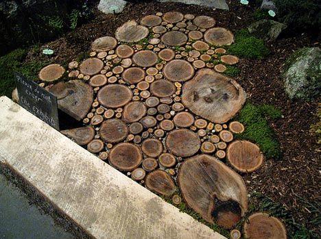 Sliced Wood garden path- Love this!