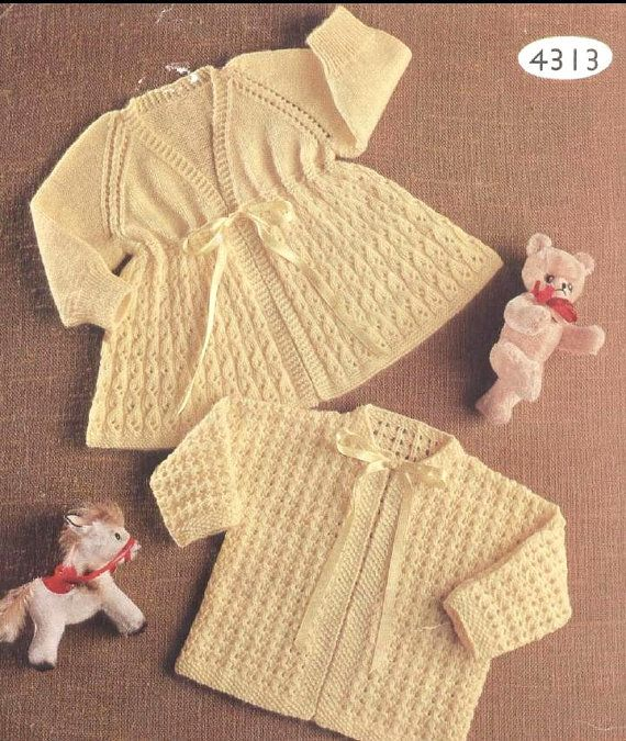 Knitting Pattern Baby Matinee Jacket : Knitted Baby Angel/Matinee Coat/Jacket/Cardigan and by georgie8109, USD2 ... Im...