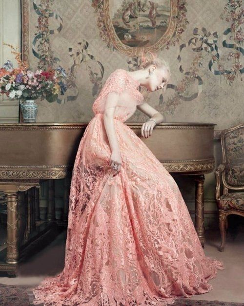 Beautiful pink lace wedding gown pink blush wedding gown for Elie saab blush wedding dress