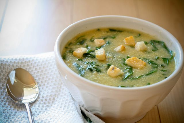 Rustic Spinach and Cornmeal Soup by bitchincamero, via Flickr