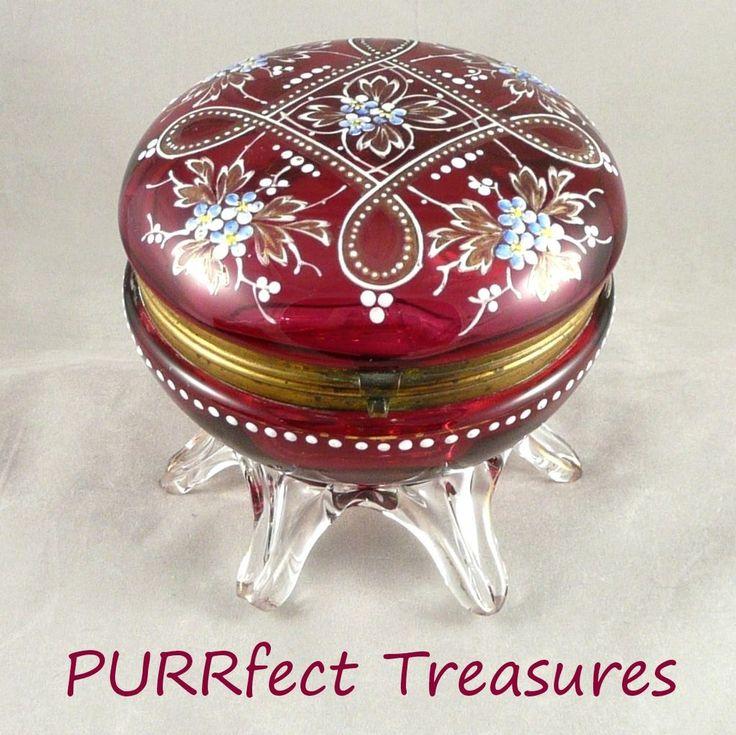 Викторианской стекла Клюква Footed эмалированной Dresser Box / Jewel Ларец
