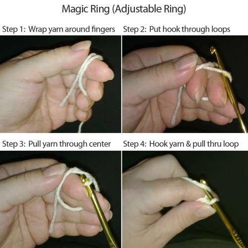 Amigurumi Adjustable Ring : magic ring how-to Crochet - Techniques Pinterest