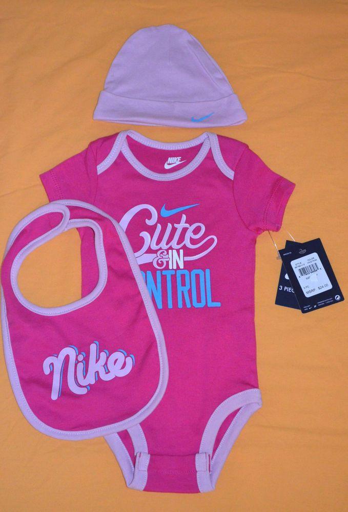 NIKE Baby Girl Clothes Gift Set 3 pc Bodysuit Hat Bib Sz 6