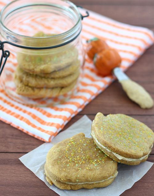 Autumn: Pumpkin Brown Sugar Sandwich Cookies from Bright Eyed Baker
