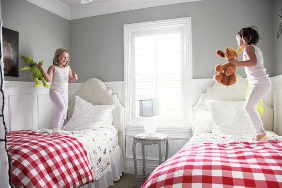 """""""... red and white buffalo check with gray walls. I think this combination is unexpected and stops the red and white check from being too """"picnic-table-esque"""""""