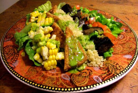 Entree Salad with Crispy-fried Tofu and BBQ'd Veggies - from my blog