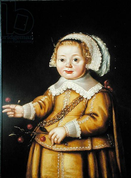 Portrait of Anne Gibson as a Child (oil on panel) creator Linde, Adriaen van der (c.1570-1609) nationality Dutch location Private Collection