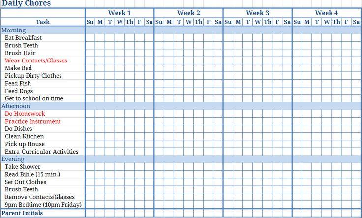 ... Printable Blank Childrens Chore Charts   Blank Childrens Chore Chart