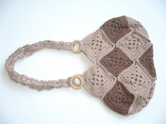 Crochet Bag Strap : Crochet bag macrame in oatmeal and brown colors / long strap crochet ...