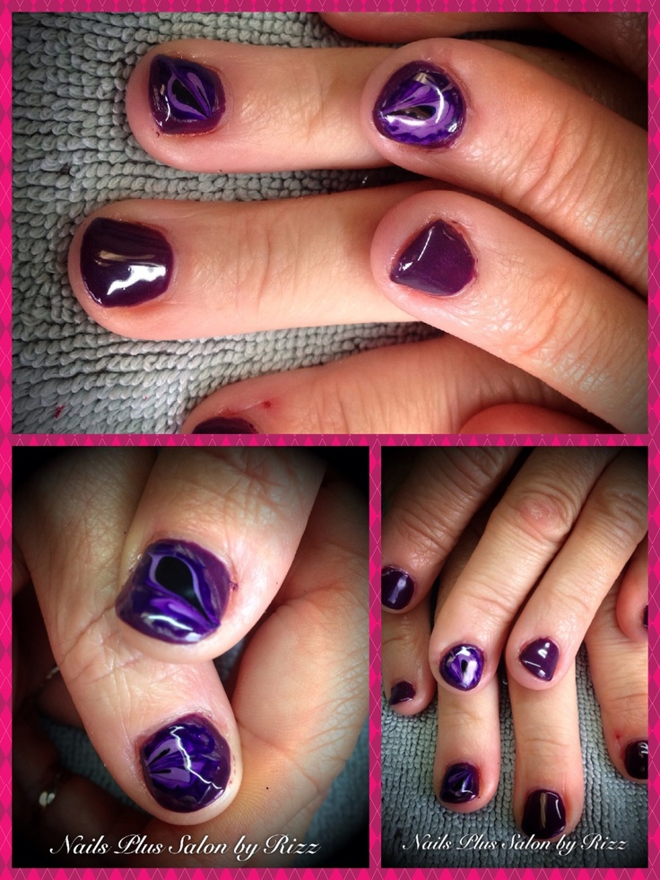 Nail shellac with decals made by me! | Nails Plus Salon | Pinterest