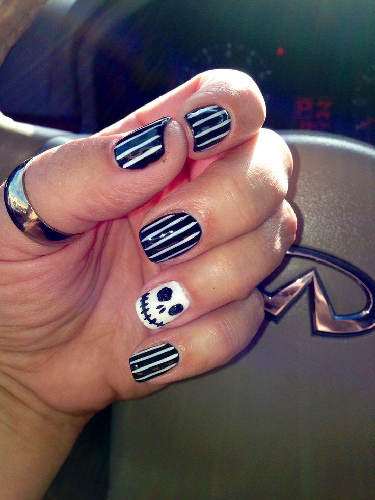 Nails, Halloween, Jack, black, design, cute, stripes, shellac, gelish