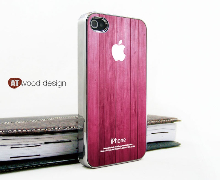 light silvery iphone 4 case iphone 4s case iphone 4 cover beautiful wood texture pink style unique Iphone case design. $16.99, via Etsy.