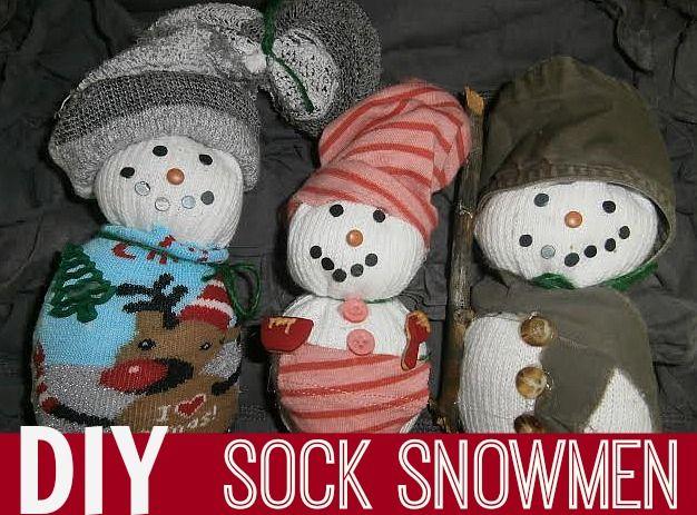 Diy sock snowmen frosty the snowman pinterest