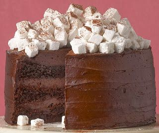 Hot Chocolate Layer Cake with Homemade Marshmallows. What fun!