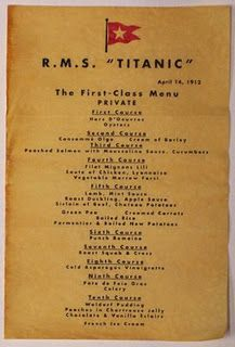 First class menu of from the Titanic. April 14th, 1914