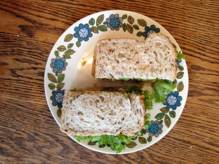 Tofu, mashed chickpea, avocado and anything else you like sandwich ...