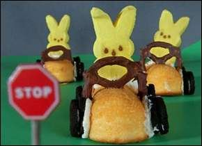 Easter:  Bunny drive in....Use a Twinkie for the car (well, a Twinkie substitute I guess), mini oreos for the tires (put them on with icing), small pretzel for the steering whell (again, ust icing), and bunny peep behind the wheel.