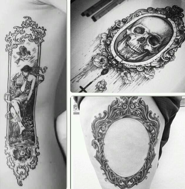 Frame tattoo thigh side vintage black and white Tattoos ...