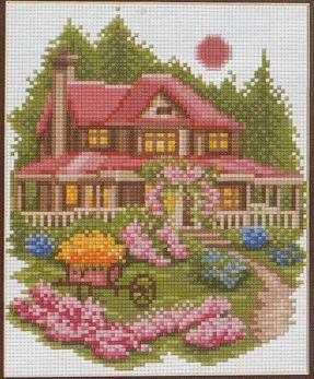 Домик в саду вышивка схема 481
