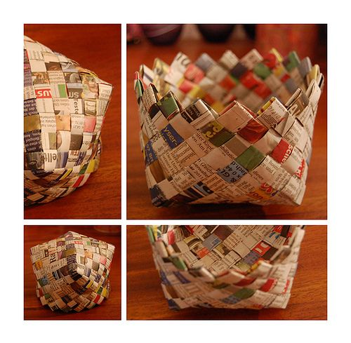 How to weave a basket with newspaper : Woven newspaper basket craft ideas