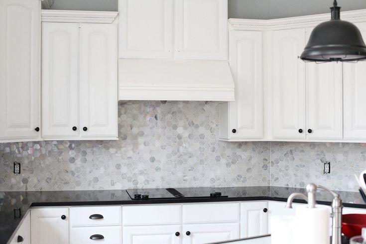 marble hex backsplash tile shop kitchen pinterest