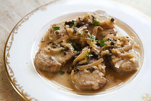 ... pork loin medallions in balsamic honey glaze over potato pancakes