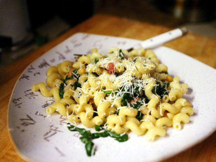 Cavatappi with Bacon, Spinach, and Chickpeas