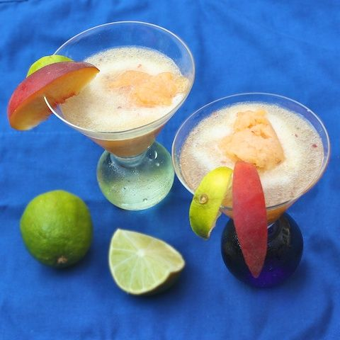 """Peach Sorbet Prosecco Cocktail 