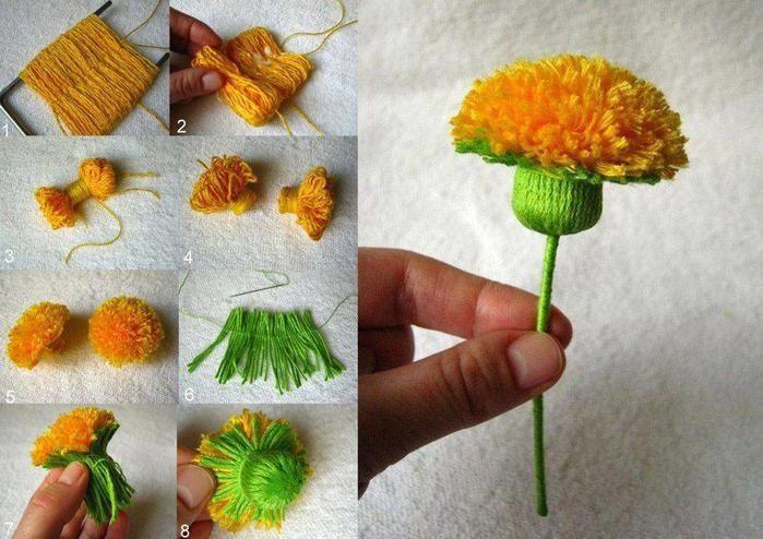 Цветок из помпонов своими руками