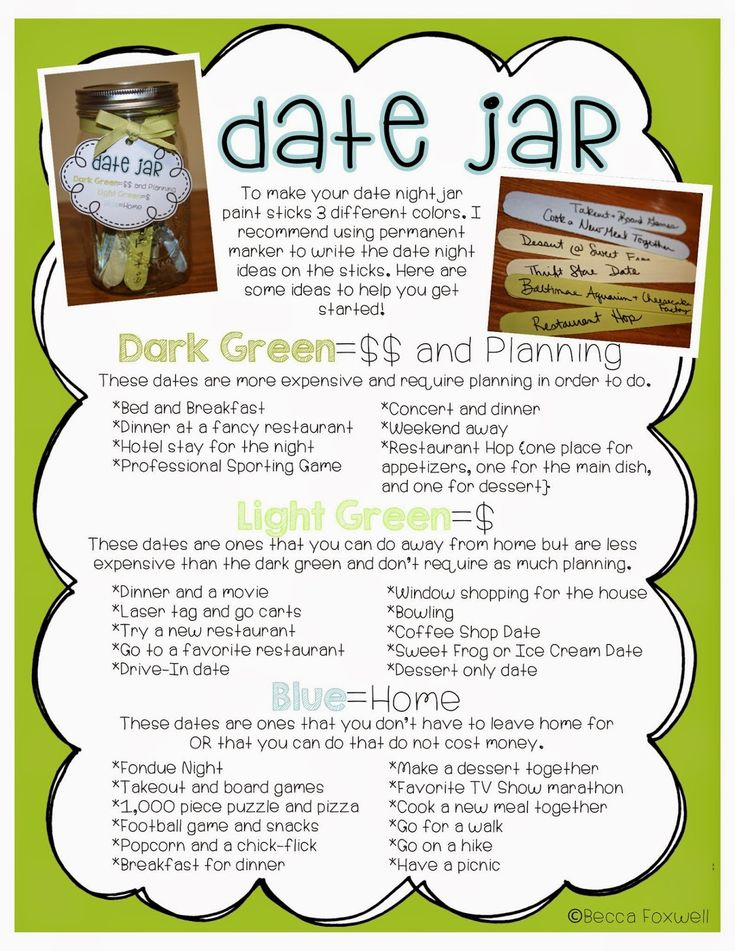 Date jar ideas list