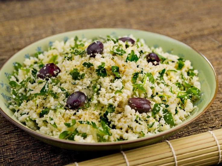 """Cauliflower """"Couscous"""" with Mint Basil Sauce (gluten free, grain fr..."""