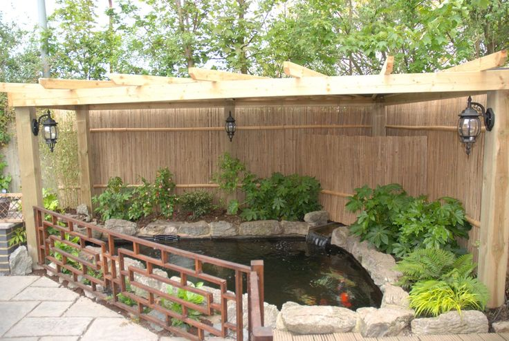 Idea to cover and fence a pond get dirty pinterest for Fish pond cover ideas