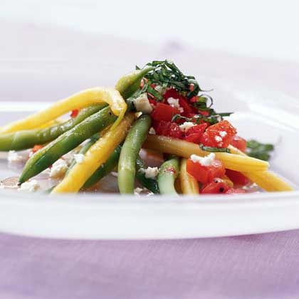 Green and Yellow Bean Salad with Chunky Tomato Dressing and Feta Chee ...