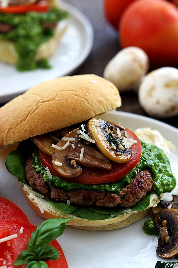 Stuffed Cheeseburgers With Peppers, Onions And Basil Garlic Mayo ...