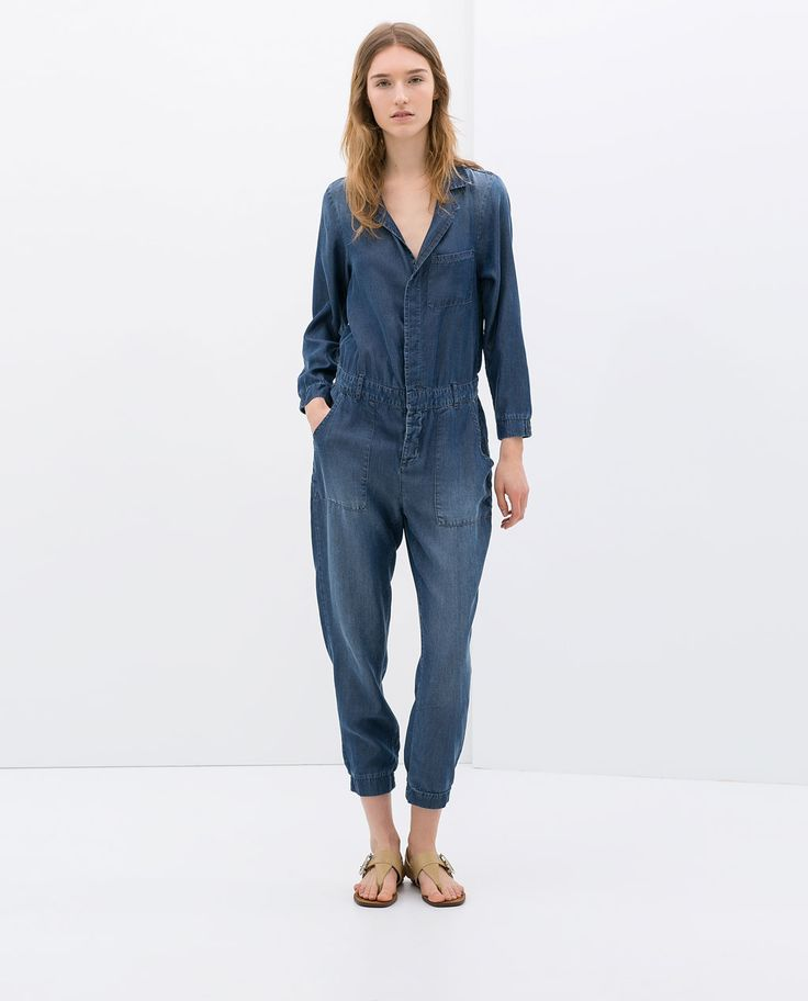 Cool Zara Backless Jumpsuit In Blue  Lyst