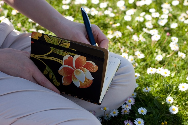 Journaling in the grass www.paperblanks.com