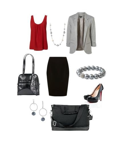 Lawyer Chic. :) The Leather Purse and Scarf is a hostess special this spring, and the XXL Professional Bag is perfect for work or school. Jewelry, again, Stella & Dot, and the shoes are (le sigh) Leboutin.
