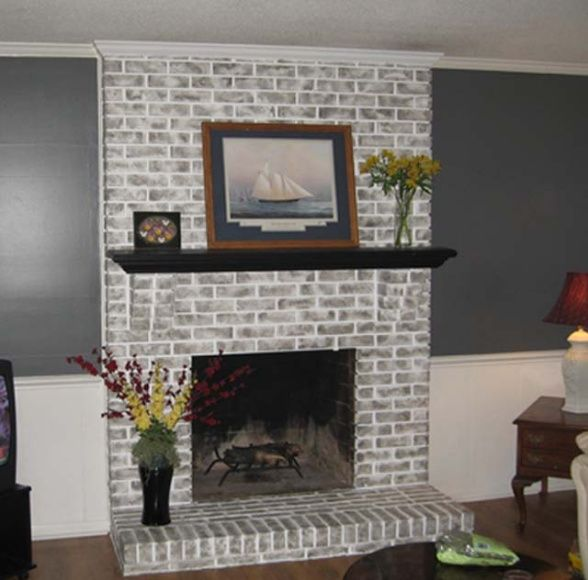 The Gallery For Grey Painted Brick Fireplace
