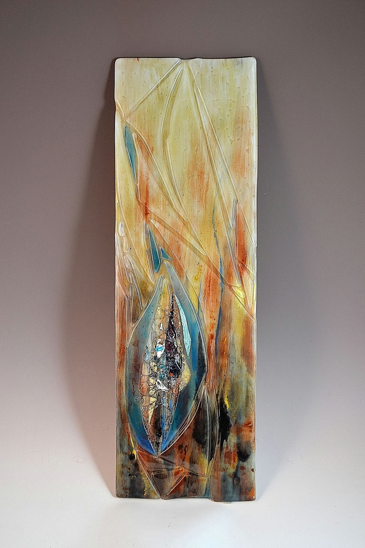 Wall Art Contemporary Glass : Modern fused glass wall art with silver copper and