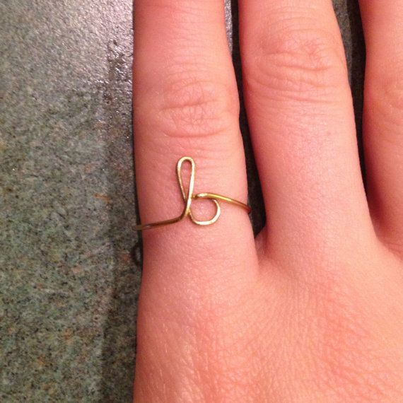 Golden Initial ring lowercase cursive letter by MarieKDesigns